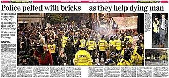 Death of Ian Tomlinson - Evening Standard, 2 April 2009