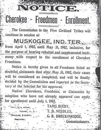 Dawes Commission - Cherokee Freedmen Enrollment Notice