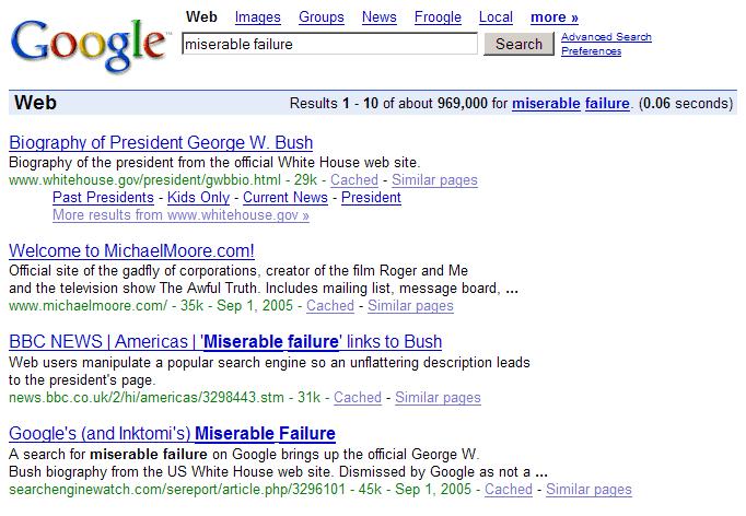 Google Bomb Miserable Failure
