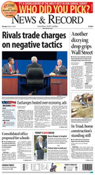 News & Record - Image: Greensboro News and Record FP