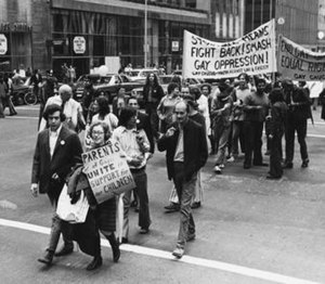 PFLAG - Image: Jeanne Manford marching with her famous sign in a Pride Parade in 1972