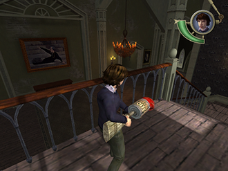 Lemony Snicket's A Series of Unfortunate Events (video game) - Gameplay screenshot showing Klaus Baudelaire wielding a makeshift battering ram.