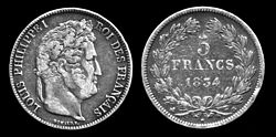 """Silver five-franc coin featuring Louis Philippe from 1834. The obverse French inscription is Louis Philippe I, Roi des Français (English: """"Louis Philippe I, King of the French."""""""