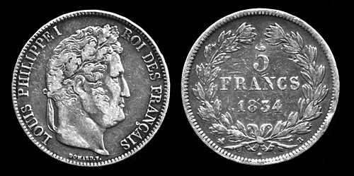 Silver five-franc coin featuring Louis Philippe Louis Philippe Silver Coin.jpg