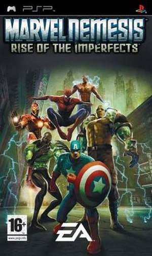 Marvel Nemesis: Rise of the Imperfects - PAL region cover art for PSP Wolverine is replaced by Captain America