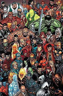 shared fictional universe of many comic books published by Marvel Comics