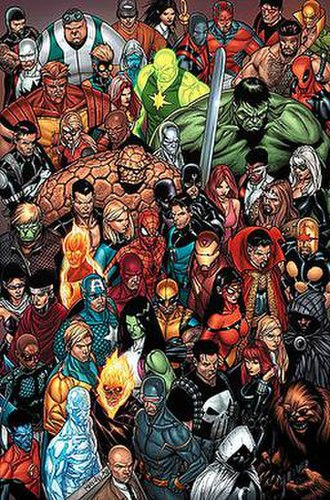 Marvel Universe - Various characters of the Marvel Universe. Promotional art for the 2006–2007 miniseries Civil War by Steve McNiven.