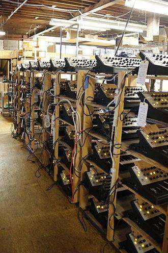 Moog Music - Newly assembled Sub Phatty instruments undergoing testing.