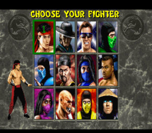 Mortal Kombat II - A screenshot of the SNES version of Mortal Kombat II, showing the game's playable character roster. From the upper left: Liu Kang, Kung Lao, Johnny Cage, Reptile, Sub-Zero, Shang Tsung, Kitana, Jax Briggs, Mileena, Baraka, Scorpion, Raiden