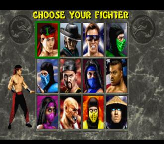 Mortal Kombat II - A screenshot of the SNES version of Mortal Kombat II, showing the game's playable character roster. From the upper left: Liu Kang, Kung Lao, Johnny Cage, Reptile, Sub-Zero, Shang Tsung, Kitana, Jax Briggs, Mileena, Baraka, Scorpion, Raiden