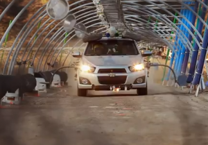 Needing/Getting - During the chorus sections of the song, Kulash drove the Sonic through a tunnel outfitted with several homemade instruments, including pipes, drums, hubcaps, and glass jars, with pneumatic arms and extensions from the car used to strike these to generate the video's music.