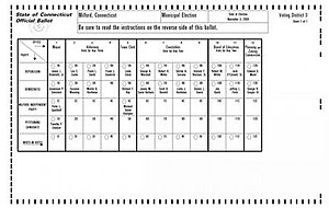 Optical scan voting system - An example of a ballot for a Diebold/Premier AV/OS scanner.