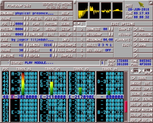 "Screenshot of ProTracker 3.62, playing a module file called ""physical presence"" by artist Jogeir Liljedahl."