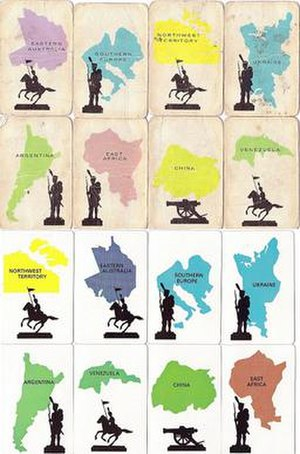 Risk (game) - Eight 'territory cards' from the 1963 UK set and the same from 1980 UK set. The latter were more accurate maps (northern 'Ukraine' and Greece in 'Southern Europe' are more accurate) and the cards were made of better quality material.