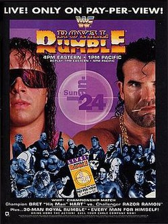 Royal Rumble (1993) - Promotional poster featuring Bret Hart and Razor Ramon among various WWF wrestlers
