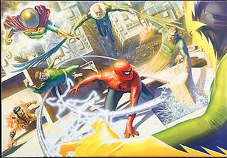 Sinister Six - The original Sinister Six (consisting of Doctor Octopus, Electro, Kraven the Hunter, Mysterio, Sandman, and Vulture) Art by Alex Ross.
