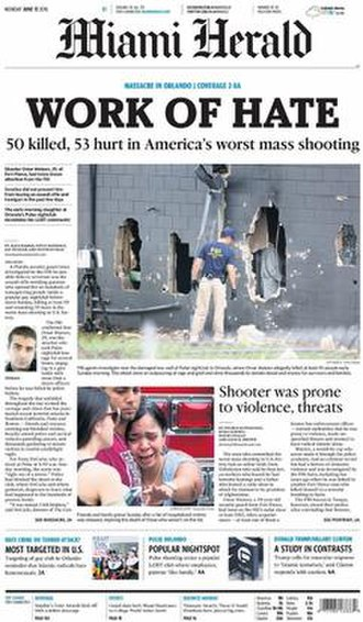Miami Herald - Cover of the Miami Herald (June 13, 2016), with the headline story reporting on the nightclub shooting in Orlando, Florida