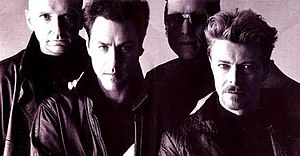 Tin Machine - Tin Machine, 1991 Left to right: Reeves Gabrels (guitar), Tony Fox Sales (bass), Hunt Sales (drums), David Bowie (vocals; guitar)