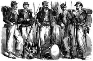 A line drawing of five Chicago Zouaves