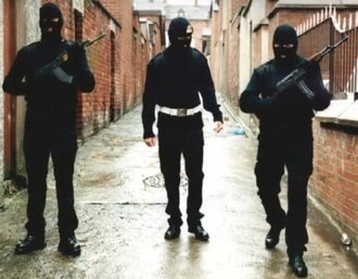 Ulster Volunteer Force - A UVF publicity photo showing masked and armed UVF members on patrol in Belfast