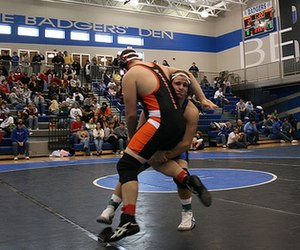 Amateur wrestling - Two competitors in an Amateur Wrestling match