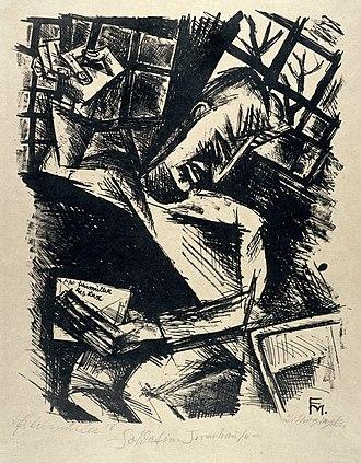 Conrad Felixmüller - A soldier in a lunatic asylum. Lithograph by Conrad Felixmüller, 1918.
