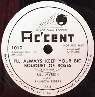 Accent Records (US) - Accent 78rpm label from 1954