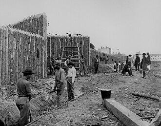 Orange and Alexandria Railroad - 1861 barricades on Alexandria's Duke Street, erected to protect the Orange and Alexandria Railroad from Confederate cavalry.