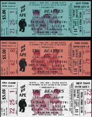 Concert tickets for the Beatles in Jacksonville
