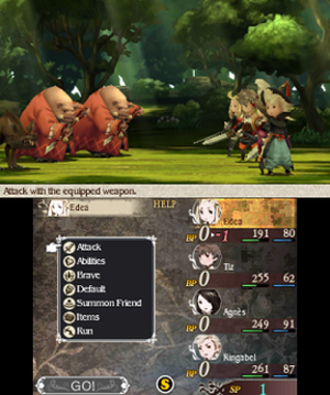 Bravely Default - Screenshot of a battle in Bravely Default, showing the party fighting an enemy group. The battle is shown on the upper screen, while the party's command menu is shown below.