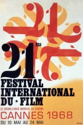 1968 Cannes Film Festival - Official poster of the 21st Cannes Film Festival, an original illustration by Beaugendre.