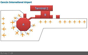 Cancún International Airport - Terminal 2 Layout.