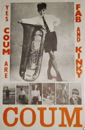 "Genesis P-Orridge - ""Yes COUM are fab and kinky"" (1971), an example of the artwork which P-Orridge produced to advertise COUM; it features a childhood image of P-Orridge"
