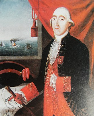 First Cevallos expedition - Portrait of Captain Melgarejo. The ships in the background on the left are Lord Clive, in the moment she was blown up by the fire of the Spanish coastal batteries, and the damaged Ambuscade.