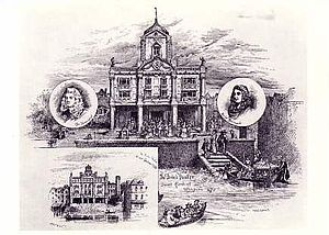 "Augustan drama - An 1875 postcard from the Victoria and Albert Hall showing the Duke's Company theatre in Dorset Gardens (the so-called ""machine house"") in operation from 1671 to 1709, which began as a playhouse and gradually became a house for spectacle."