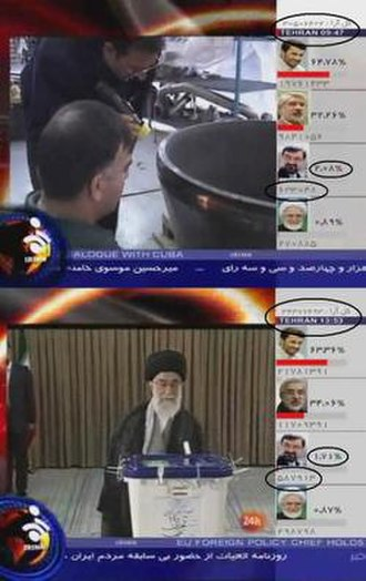 2009 Iranian presidential election - Two screenshots from IRINN, Iranian state-run television illustrating the apparent decrease in votes for candidate Mohsen Rezaee over a four hour period. The upper picture shows Rezaee with 633,048 votes at 09:47; the lower shows the same candidate with 587,913 votes at 13:53 later that day. Mohsen Rezaee's official website published the screenshots and stated that never during the vote counting in Iran had the counted votes of candidates dropped.