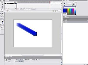 Simple animation in Flash MX; a square moving across the screen in a motion tween, one of the basic functions of Flash.