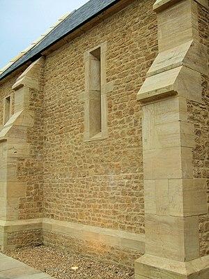 Hamstone - Hamstone wall from Tithe Barn, Haselbury Mill, Haselbury, Somerset, England