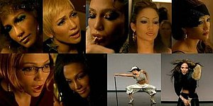 "Get Right - Lopez portrays several characters in the music video for ""Get Right"". (From left to right in order of appearance: the DJ, bartender, stripper, heavily made-up women, nerd and diva, as well as herself in the last two shots)."