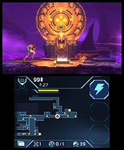 A screenshot of the Nintendo 3DS system's two screens: the top screen shows the player character standing in front of a round, orange gate while surrounded by a purple fog, and the bottom screen shows a map of the game world along with information such as how much health and how many missiles the player has left.