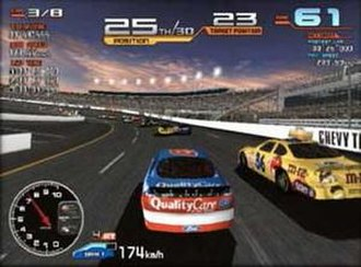 NASCAR Arcade - The player is battling Dale Jarrett and Ernie Irvan for 23rd place at Richmond International Raceway; utilizing the optional third-person perspective.