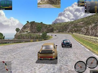 Need for Speed: Porsche Unleashed - A screenshot of the game (Windows version), depicting the exclusive use of Porsche cars on a track set on Corsica. The car displayed is a 930, in front of it is a factory mode 911 Carrera RS 2.7.