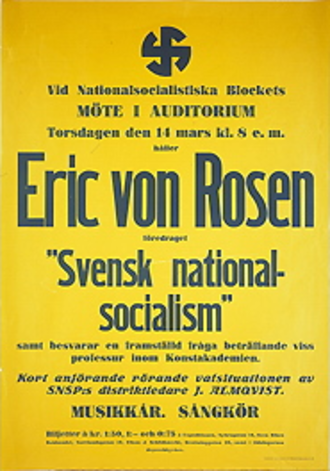 National Socialist Bloc - NSB poster from 1935, announcing a meeting with Eric von Rosen as main speaker.