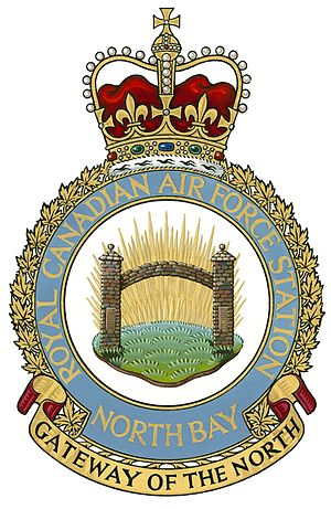 CFB North Bay - Created in 1960 and authorized by Queen Elizabeth in 1961, it is the only Canadian Armed Forces badge that uses the logo of its neighbouring civilian community, specifically the City of North Bay's gateway.
