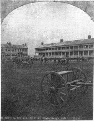 Old Stone Barracks - An 1874 stereoview photo card depicting Battery G of the 5th U.S. Artillery drilling on the parade ground at Plattsburgh Barracks. Note the adjacent officer's quarters to the left which was demolished in 1964.