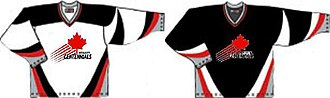 """Merritt Centennials - The old """"Maple Leaf"""" style jerseys used from 1996 to 2007"""