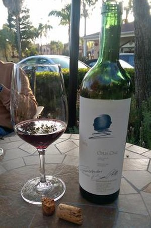 Opus One Winery - A bottle and glass of 1991 Opus One