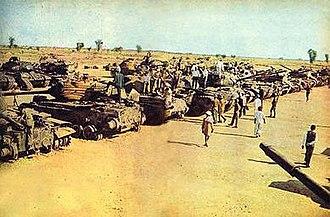 Battle of Asal Uttar - Captured Pakistani tanks on display near Bhikhiwind, India
