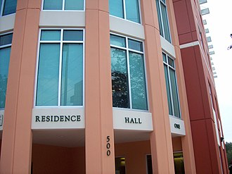 University of South Florida St. Petersburg - The University of South Florida St. Petersburg's Residence Hall One is a seven-story building that can house 354 students in 95 apartments.