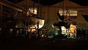 Spaulding Wooden Boat Center - Spaulding boatyard at night